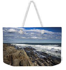 Rocky Shore Line Two Lights Maine  Weekender Tote Bag by Debra Forand