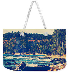 Weekender Tote Bag featuring the photograph Rocky Shores Of Lake Superior by Phil Perkins