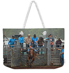 Weekender Tote Bag featuring the photograph Rodeo Bronco by Lori Seaman