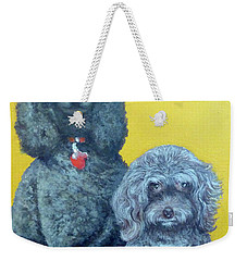 Weekender Tote Bag featuring the painting Roger And Bella by Tom Roderick