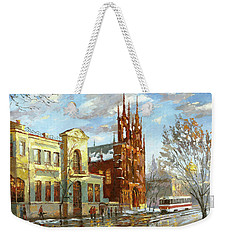 Weekender Tote Bag featuring the painting Roman Catholic Church by Dmitry Spiros