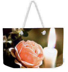 Romance In A Peach Rose Weekender Tote Bag by Linda Phelps