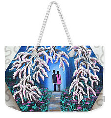 Romance Under Cherry Blossom Textured Hexagonal Painting  Weekender Tote Bag
