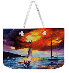 Weekender Tote Bag featuring the painting Romancing The Sail by Darice Machel McGuire