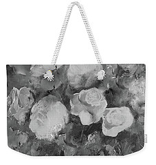 Weekender Tote Bag featuring the painting Romantic Large Roses  by Robin Maria Pedrero