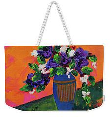 Romantic Purple Flowers In Blue Vase Weekender Tote Bag