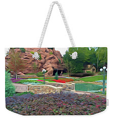 Weekender Tote Bag featuring the photograph Romantic Skies Flower Garden Walkway by Aimee L Maher Photography and Art Visit ALMGallerydotcom