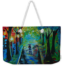 Weekender Tote Bag featuring the painting Romantic Stroll by Leslie Allen