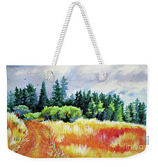 Weekender Tote Bag featuring the painting Romp On The Hill by Kathy Braud