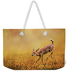 Romping In The Sunflower Field - Fawn Art By Jai Johnson Weekender Tote Bag