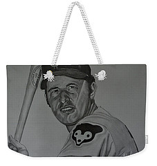 Weekender Tote Bag featuring the drawing Ron Santo Portrait by Melissa Goodrich