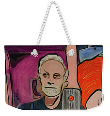 Weekender Tote Bag featuring the painting Ron Selfie Portrait 2016 by Ron Richard Baviello