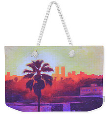 Weekender Tote Bag featuring the painting Rooftop Glow by Andrew Danielsen