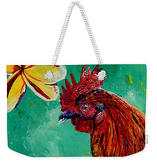 Weekender Tote Bag featuring the painting Rooster And Plumeria by Marionette Taboniar