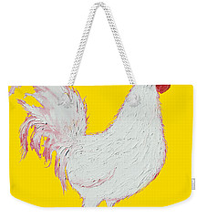 Rooster Art On Yellow Background Weekender Tote Bag by Jan Matson