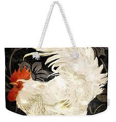 Rooster Damask Dark Weekender Tote Bag