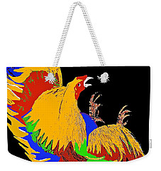 Rooster Fight Weekender Tote Bag by Saundra Myles