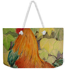 Weekender Tote Bag featuring the painting Rooster by Laurianna Taylor