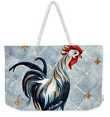 Rooster - Red White And Blue Roo Weekender Tote Bag by Janine Riley
