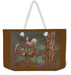Weekender Tote Bag featuring the painting Rooster Weather Vane In Garden by Nancy Lee Moran