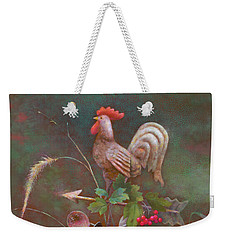 Weekender Tote Bag featuring the painting Rooster Weather Vane In Square Format by Nancy Lee Moran