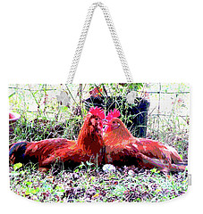 Weekender Tote Bag featuring the mixed media Roosters by Charles Shoup