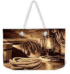 Rope And Tools In A Barn Weekender Tote Bag by American West Legend By Olivier Le Queinec