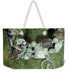 Weekender Tote Bag featuring the jewelry Rosary Bracelet by Michele Myers