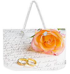Rose And Two Rings Over Handwritten Letter Weekender Tote Bag
