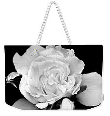 Weekender Tote Bag featuring the photograph Rose Black And White by Christina Rollo