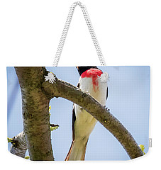 Weekender Tote Bag featuring the photograph Rose-breasted Grosbeak Looking At You by Ricky L Jones