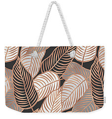 Rose Gold Jungle Leaves Weekender Tote Bag by Emanuela Carratoni
