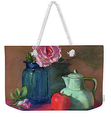 Rose In Blue Jar Weekender Tote Bag by Vikki Bouffard