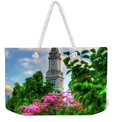 Weekender Tote Bag featuring the photograph Rose Kennedy Greenway And Marriott Custom House - Boston by Joann Vitali