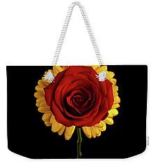 Rose On Yellow Flower Black Background Weekender Tote Bag by Sergey Taran