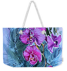 Weekender Tote Bag featuring the painting Rose Orchids by Mindy Newman