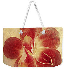 Weekender Tote Bag featuring the photograph Rose Petals by Linda Sannuti
