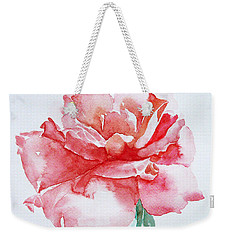 Weekender Tote Bag featuring the painting Rose Pink by Jasna Dragun