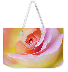 Weekender Tote Bag featuring the photograph Rose Pink Petals And Drops by Julie Palencia