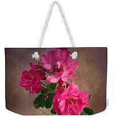 Weekender Tote Bag featuring the photograph Rose Trio Still Life by Louise Kumpf