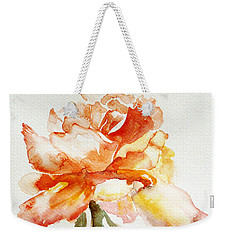 Weekender Tote Bag featuring the painting Rose Yellow by Jasna Dragun