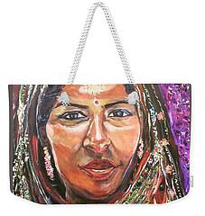 Weekender Tote Bag featuring the painting Roseanne Kala - True Colors by Belinda Low