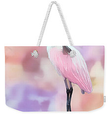 Weekender Tote Bag featuring the painting Roseate Preened In Reflection by Barbara Chichester