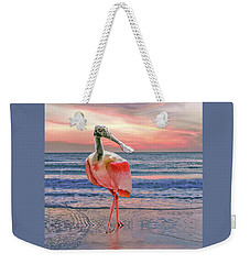 Weekender Tote Bag featuring the photograph Roseate Spoonbill At Sundown  by Brian Tarr