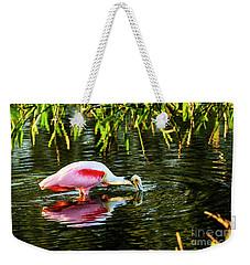 Roseate Spoonbill Feeding Weekender Tote Bag