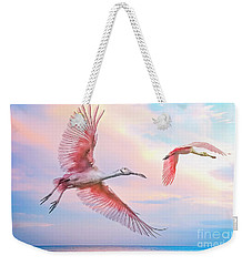 Roseate Spoonbills In Flight. Weekender Tote Bag