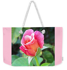 Rosebud With Border Weekender Tote Bag by Mary Ellen Frazee