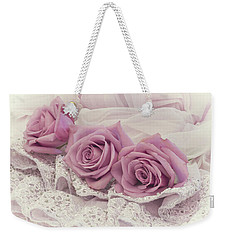Roses And Beaded Lace Weekender Tote Bag by Sandra Foster