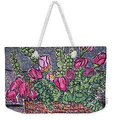 Roses And Eucalyptus In Basket Weekender Tote Bag
