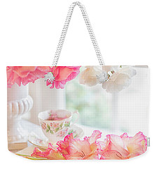 Roses And Gladiolus In Morning Light Weekender Tote Bag